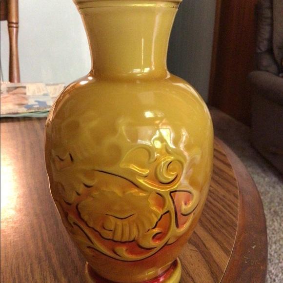 Avon vase plastic encased white glass